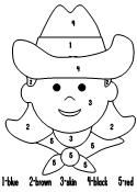 Cowboy or Cowgirl color by number page from Making Learning Fun.