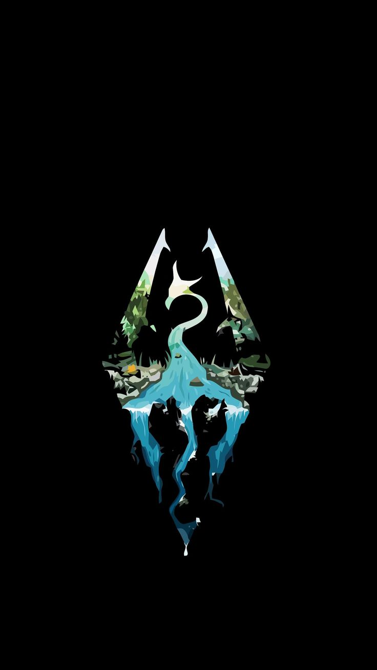Phone wallpaper Skyrim logo Tweaked for iPhone Lock