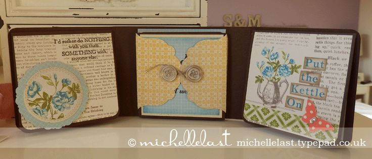 """FREE tutorial """"tea for two'' album/ card with pocket for sachet of tea"""