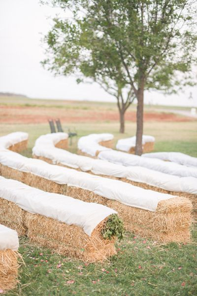 hay bale seating at the ceremony | Michelle Boyd #wedding