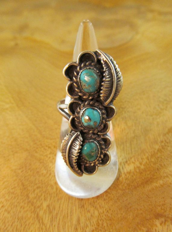 Vintage Turquoise Ring Silver Native American by TaxcoandMore,
