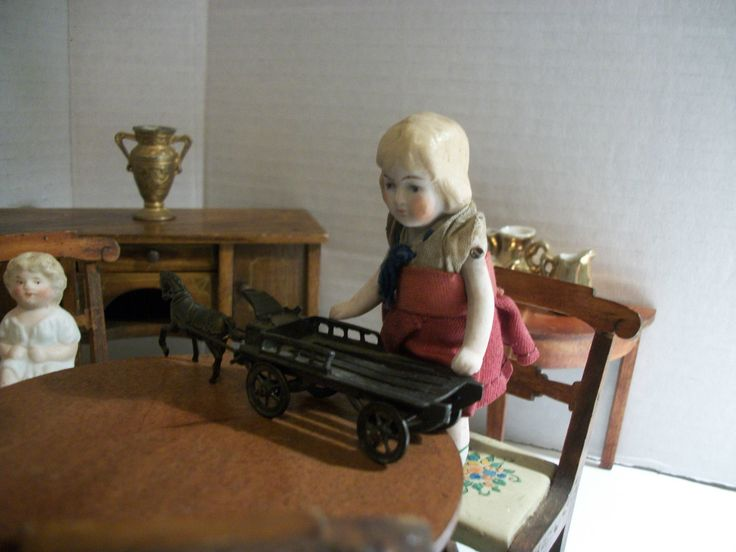 Antique Tynietoy Dining Parlor W/ Antique German Bisque Dollhouse Doll  Family
