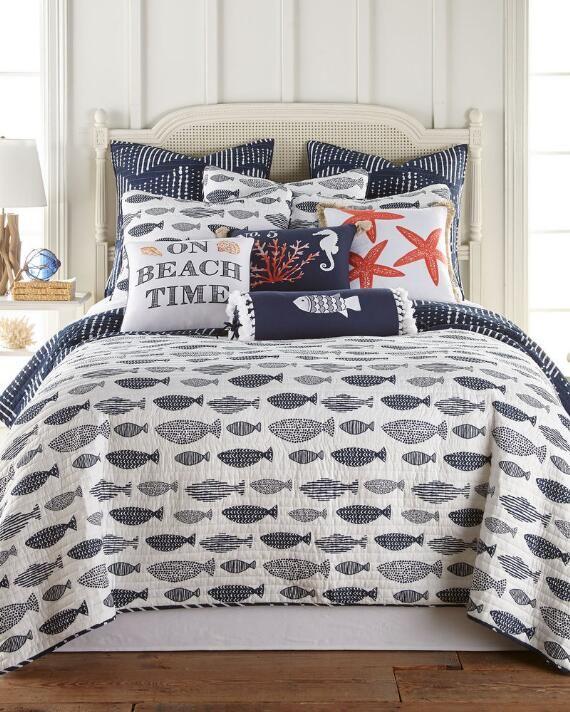 Navarre Coastal Luxury Quilt Blue Fish King Quilt Sets Luxury