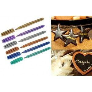 stylo feutre métallique avec encre métallisée couleur pour marque place, carte invitation ou menu de fête.