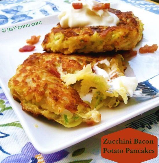Zucchini Bacon and Potato Pancakes from ItsYummi.com