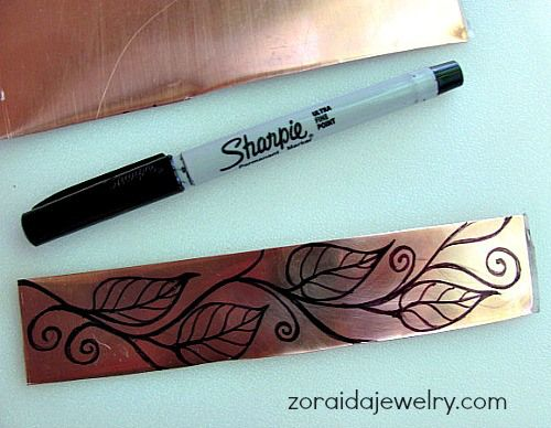 Inked in design directly on cut blank