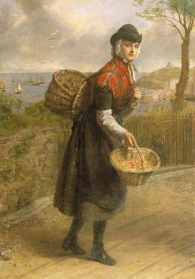 """""""A Tenby Prawn Seller"""", 1880, by William Powell Frith (British, 1819-1909)."""