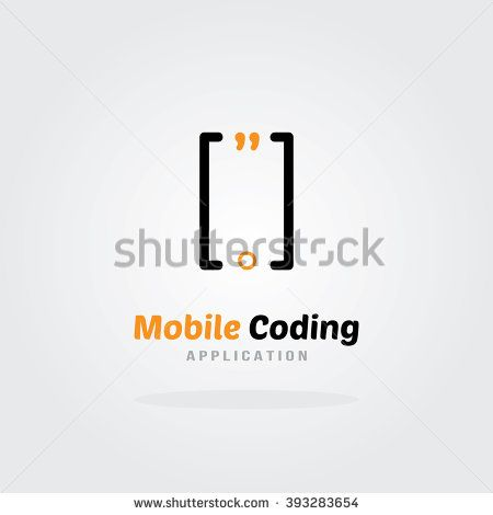 Mobile Coding Studio Logo Design Template - Mobile phone concept. Software company logo template. Vector illustration. Software development, Software application, Mobile application development.  - stock vector