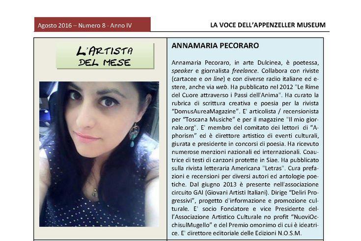 Agosto 2016, n.8, La Voce dell'Appenzeller Museum Annamaria Dulcinea Pecoraro, Artista del mese