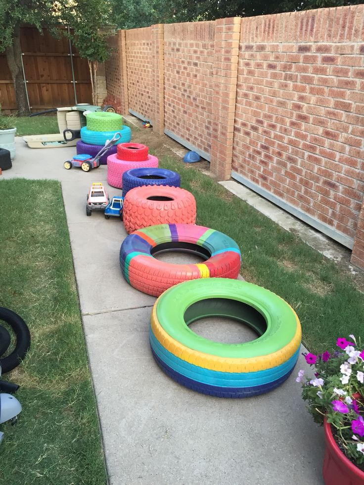 Painted Tires for the Tire Garden