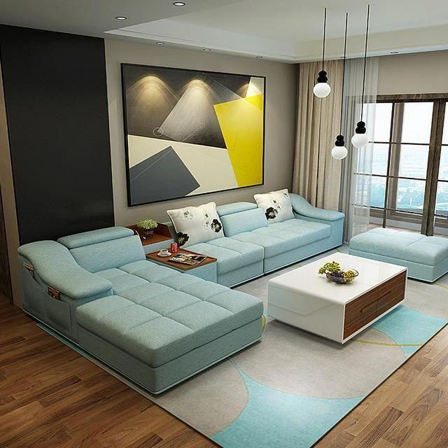 living room furniture modern L shaped fabric sectional sofa set design couches for living room with chaise longue ottoman #livingroomdecor