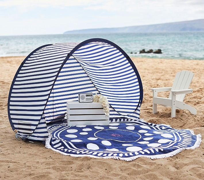 Navy White Stripe Family Pop Up Tent Outdoor Toys