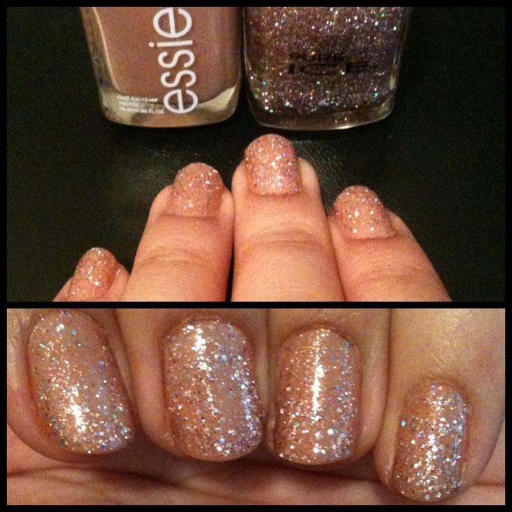 Easy nude glitter nails!    1 coat Essie (Mamba)  1 coat Pure Ice (Baby Pink Glitter)