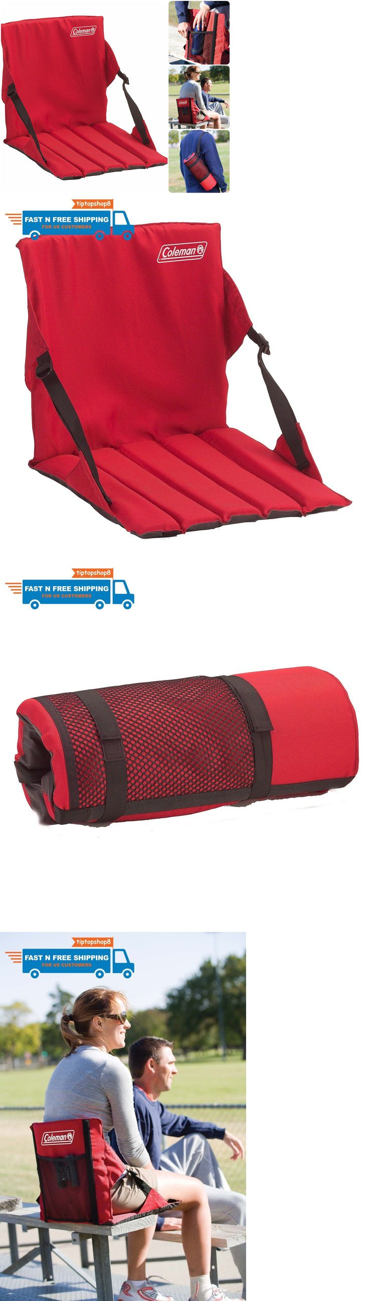 Other Outdoor Sports 159048: Portable Seat Folding Bleacher Seats With Backs Padded Red Stadium Chair Cushion -> BUY IT NOW ONLY: $79.4 on eBay!
