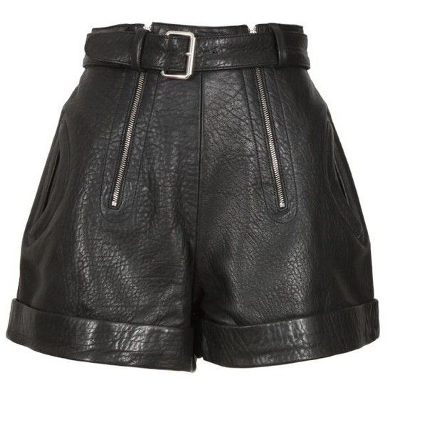 Carven Black Cracked Leather Shorts (€353) ❤ liked on Polyvore featuring shorts, bottoms, short, pants, embellished shorts, zipper shorts and short shorts