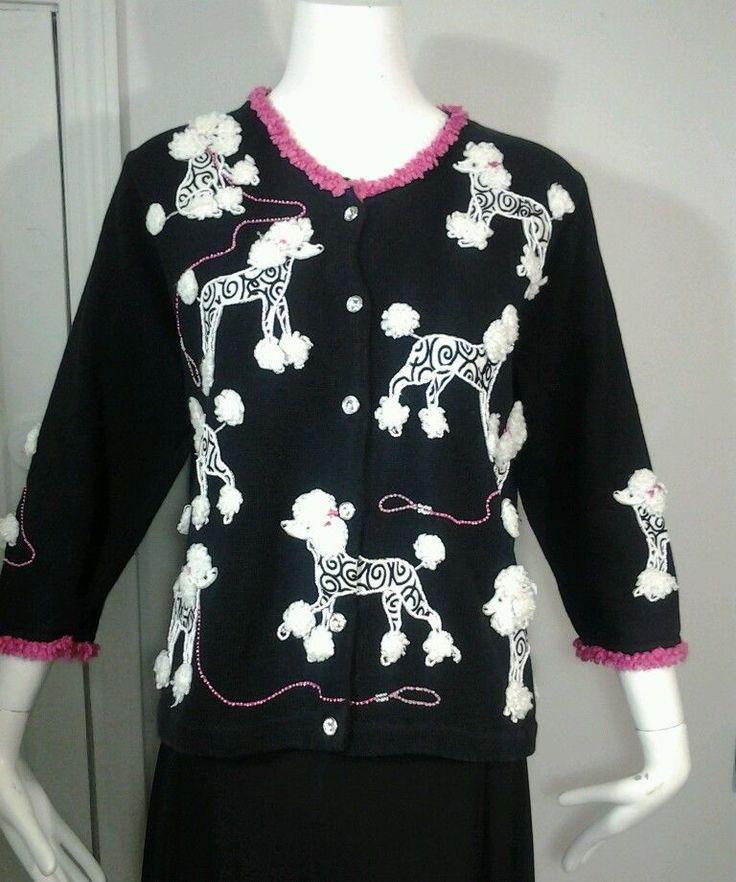 RARE DESIGN OPTION Philip Jane Poodle Dog Cardigan Sweater Black Pink Sz M #designoptions #Cardigan