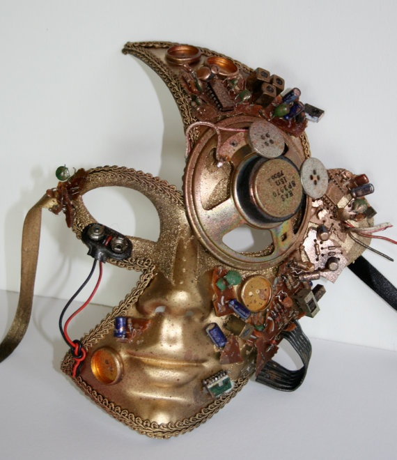 Gold Venetian Robot Mask by d5dietrich on Etsy, $150.00