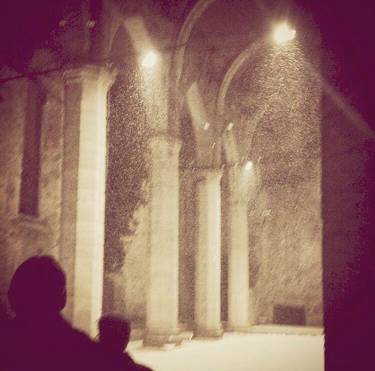 St Karin ruin in Visby in wintertime
