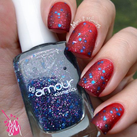 Nail art with exotic nail polish #manismakeovers #rednails  #nailart #Glitter #Bellashoot