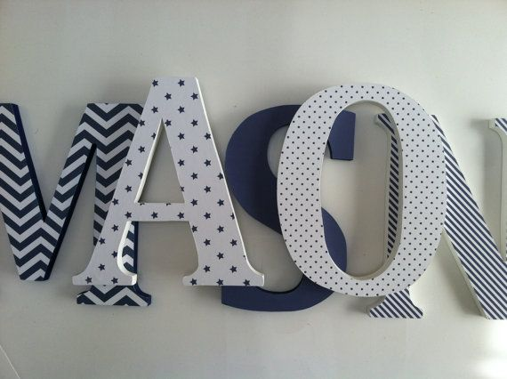 Wooden Letters For Nursery In Navy Blue Baby Pinterest And