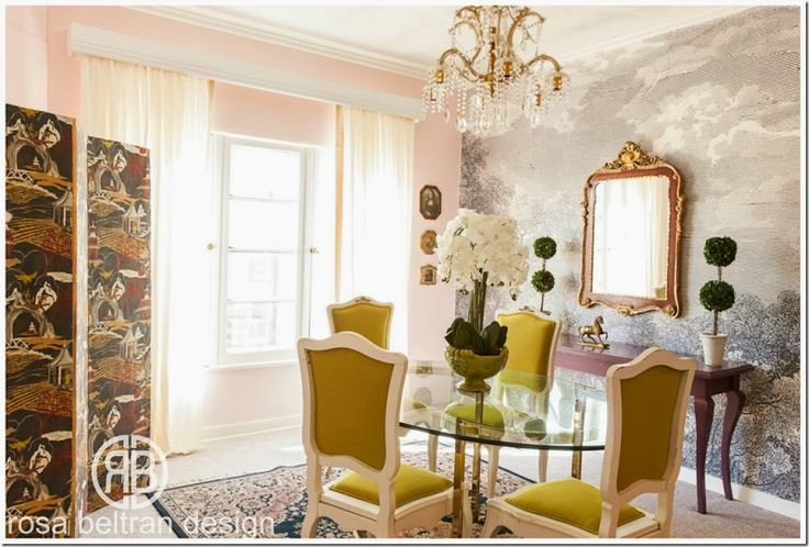 Rosa beltran used pinks and pastels and the anthropologie for Anthropologie wallpaper mural