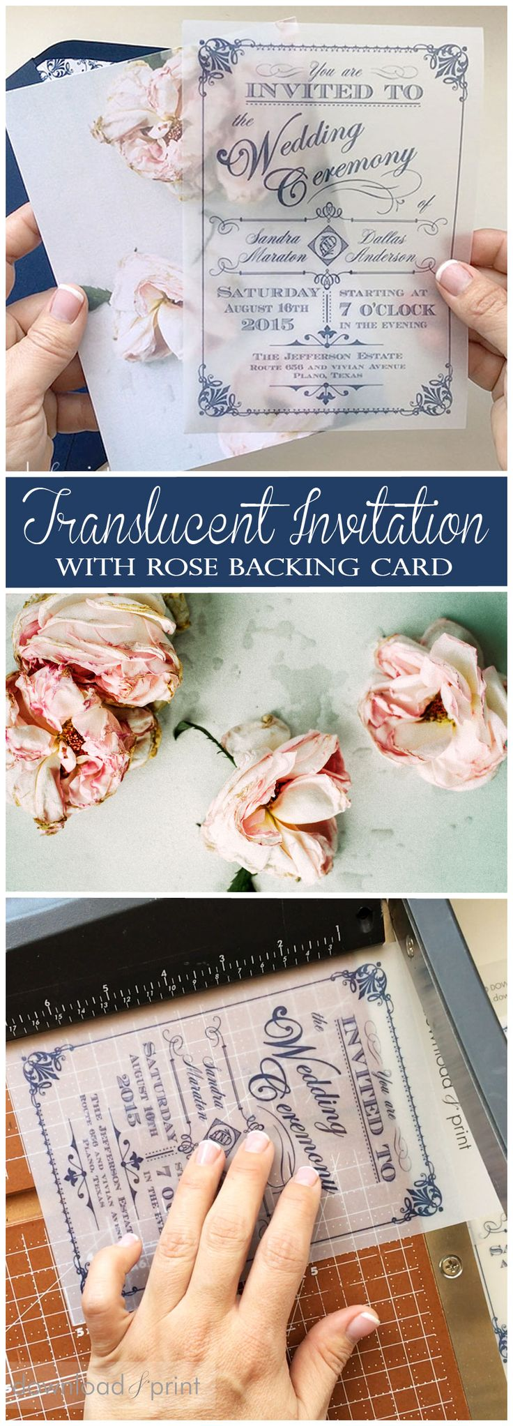 Gasp worthy translucent wedding invitation with vintage rose backing card. So so beautiful. Plus it's easy to DIY, and the rose template is FREE!