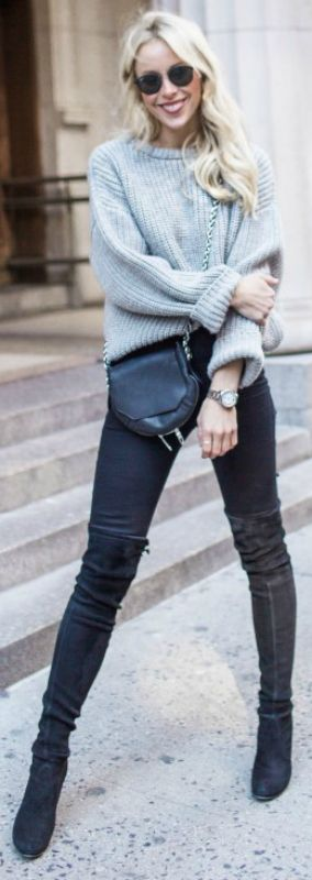 Mary Seng + simply gorgeous + thigh high boots outfit + tight grey boots + skinny jeans + contrasting oversized cable knit sweater  Knit: Zady, Jeans: Topshop, Boots: Stuart Weitzman, Bag: Rag & Bone.