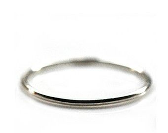18ct White Gold Ring - Available in Yellow, White or Rose Gold. Thin Wedding Band - Stacking Ring - Handcrafted Ring