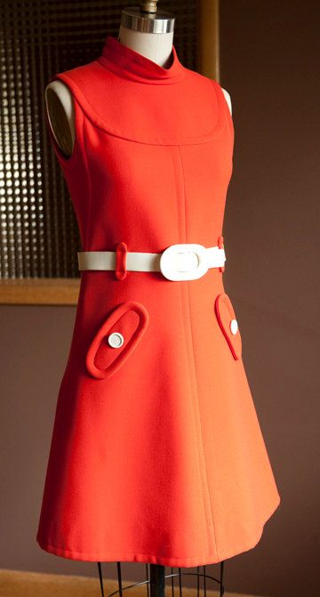 Amazing Vintage Courreges dress, 1965, Mod, Orange Wool with White belt, couture