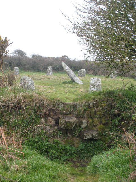 BOSCAWEN-UN STONE CIRCLE: 'stile in the Cornish hedge surrounding Boscawen-un stone circle'