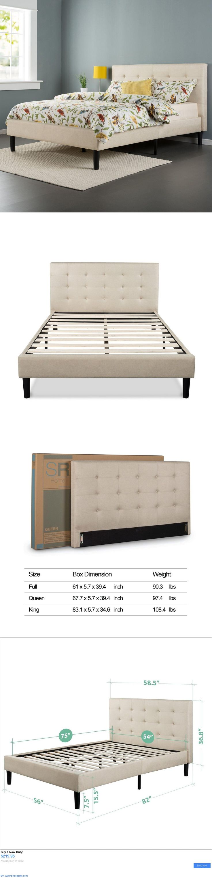 Bedding: Upholstered Bed Frame Queen Full King Size Platform Mattress Bedroom Headboard BUY IT NOW ONLY: $219.95 #priceabateBedding OR #priceabate