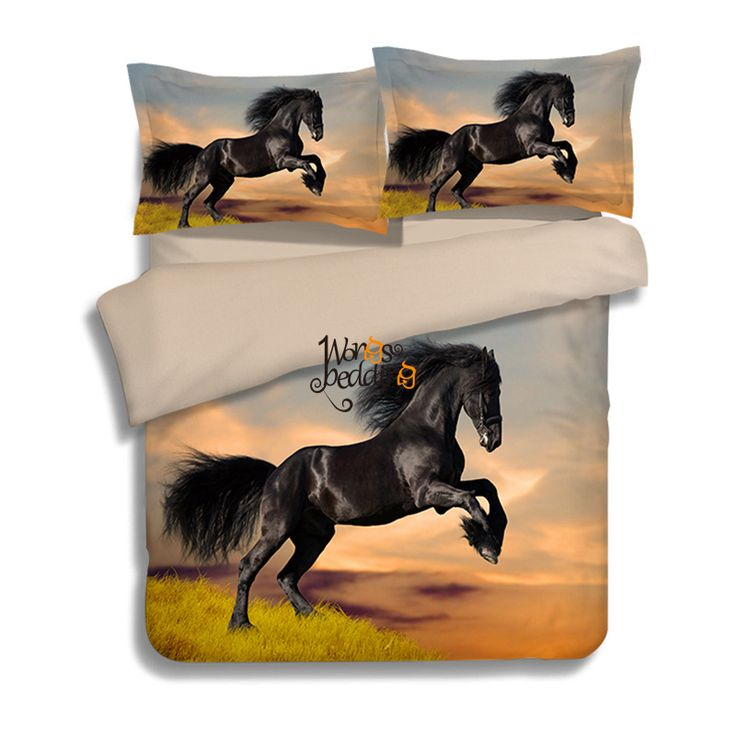 wongs bedding blackwhite horse bedding set painting 3d vivid duvet cover quality twill cool