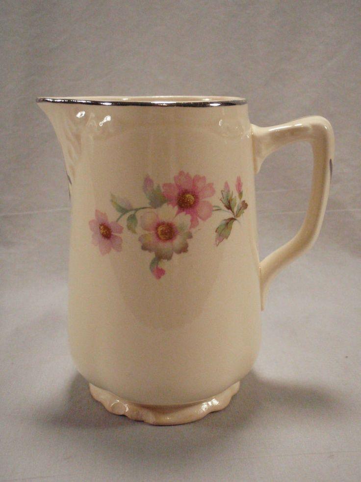 Homer Laughlin 16oz Pitcher Virginia Rose Pink White Florals JJ59 Milk Creamer #HomerLaughlin