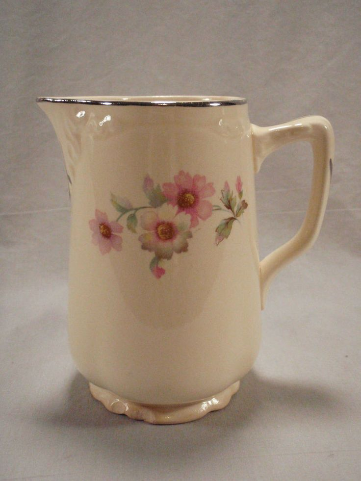 Homer Laughlin 16oz Pitcher Virginia Rose Pink White Florals JJ59 Milk Creamer #HomerLaughlin