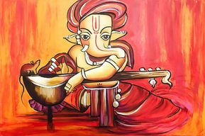 Ganesha Painting by Nikki Chauhan Lord Ganesha - elephant headed God - represents the power of the Supreme, remover of obstacles, the patron of arts and sciences and the God of intellect and wisdom. For this reason Hindus worship Ganesha first before beginning any religious,