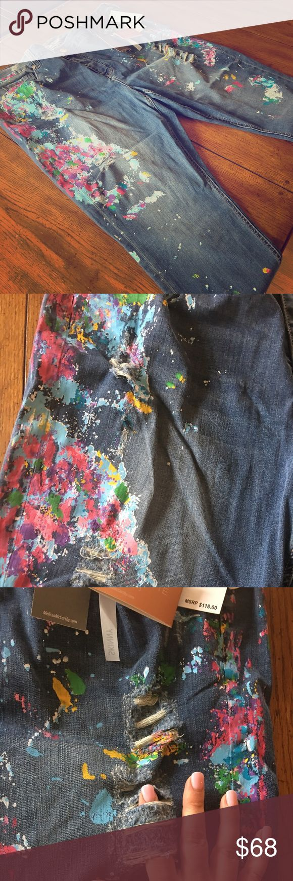 Melissa McCarthy/Seven Jeans Painted Jeans NWT Melissa McCarthy jeans by Seven jeans. Skinny jean fit with multi-colored paint pattern. Worn/torn patches in front thigh/knee area. Melissa McCarthy Pants Skinny