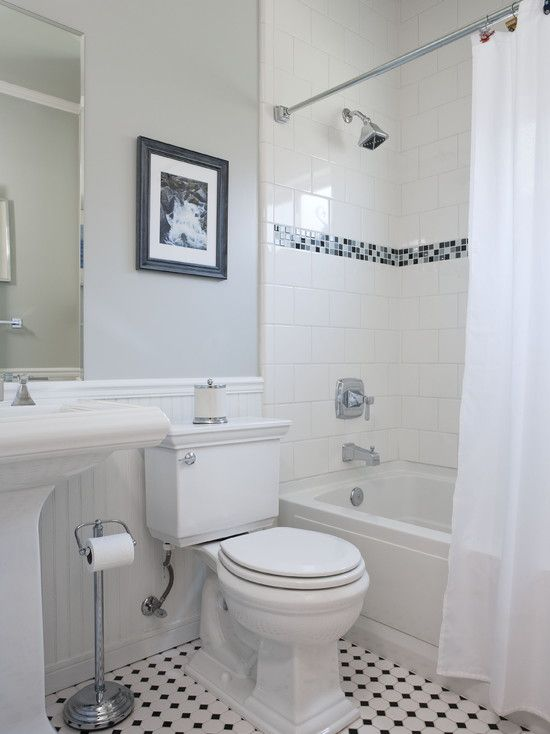 Small White Bathroom Design Ideas : Tile accents bathroom small traditional cape cod style