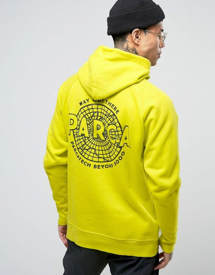 Parca Hoodie With Back Print - Yellow
