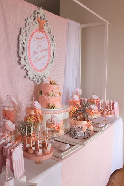 I dt like the back drop but I sure like the candy table Peach Party