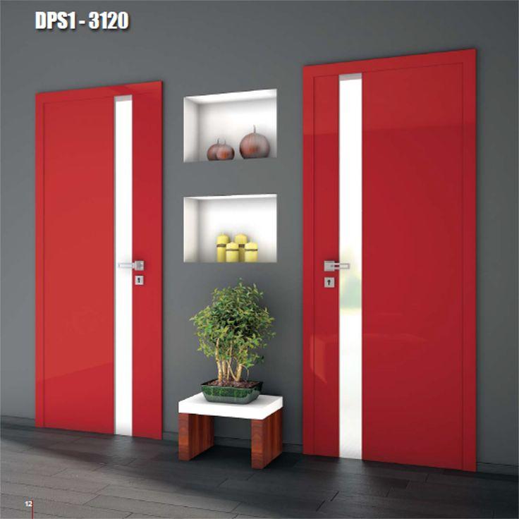 Drzwi wewnętrzne Umberto Cobeli model DPS1-3120, pokryte błyszczącą, odporną na uszkodzenia folią akrylową.