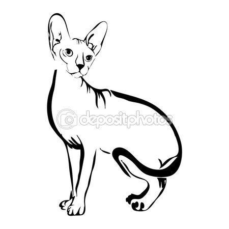 Наброски кошка Сфинкс векторные иллюстрации. Можно использовать логотип и — стоковая иллюстрация #111823160