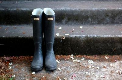 Well. It rains...wellies are a must. I love the new slightly heeled kind! A girly update!
