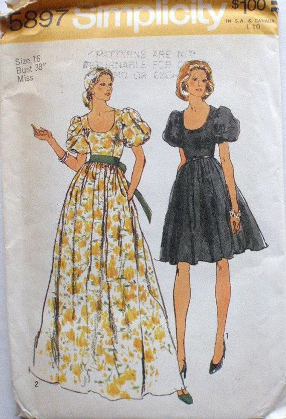 1970 S Puffy Sleeve Dress Or Evening Dress Sewing Pattern Simplicity 5897 Evening Dress Sewing Patterns Vintage Dress Sewing Patterns Vintage Sewing Patterns