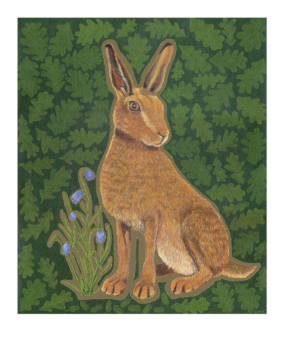 Medium hare print from original painting  by ChargedByFire on Etsy