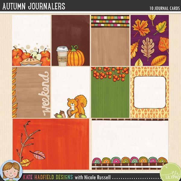 Autumn / Fall pocket page journal cards | Project Life filler cards. Hand-drawn journal cards for digital scrapbooking / hybrid pocket page scrapbook pages from Kate Hadfield Designs!