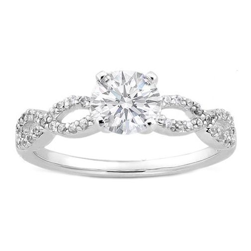 Engagement Ring - Diamond Infinity Engagement Ring in 14K White Gold 0.21 tcw. - ES347