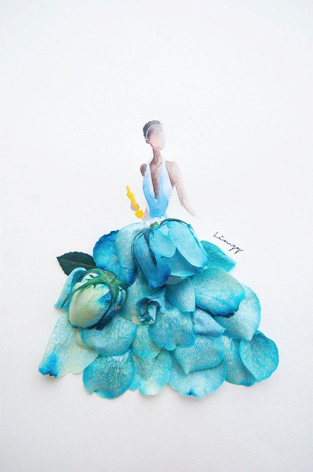 Flowergirls por Limzy, croquis coloridos com pétalas de flores