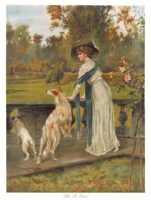 Borzoi hound fox terrier victorian lady dog art print