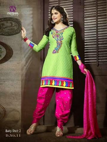 Beautifully Designed Green Patiyala Dress in Cotton with awesome embroidery work done. Comes along with Pink contrast matching finely embroidered Bottom and Duppatta.