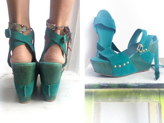 Vintage 90s Teal Green Wedges Studded Sandals Genuine Leather